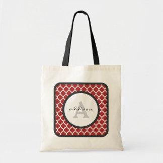 Red Quatrefoil Monogram Tote Bag