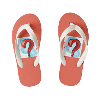 Red question mark toddlers flip flop