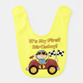 Red Race Car 1st Birthday Bib