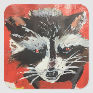 Red Racoon Artistic Painting Square Sticker
