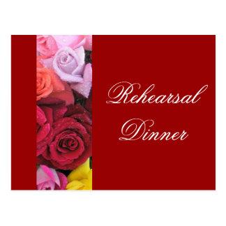 Red Rehearsal Dinner Rose Wedding Postcards