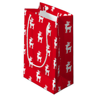 Red Reindeer Patterned Small Gift Bag
