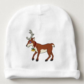 Red Reindeer with Jingle Bells & Christmas Holly Baby Beanie