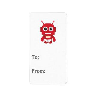 Red Retro Robot Address Label