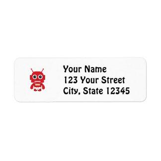 Red Retro Robot Return Address Label