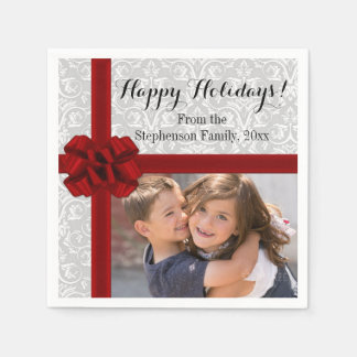 Red Ribbon Bow Christmas Photo Disposable Serviettes