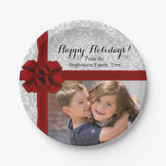 Red Ribbon Bow Christmas Photo 7 Inch Paper Plate