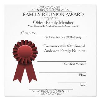 Red Ribbon Elegant Family Reunion Awards Template 13 Cm X 13 Cm Square Invitation Card