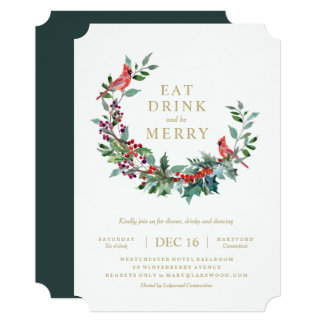Red Robin Holiday Wreath Party Invitation