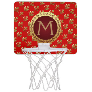 Red Roman Monogram Mini Basketball Hoop