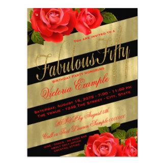 Red Rose 50th Birthday Card