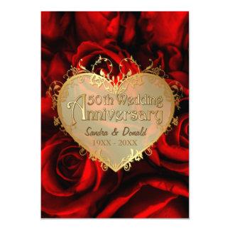Red Rose 50th Wedding Anniversary 13 Cm X 18 Cm Invitation Card
