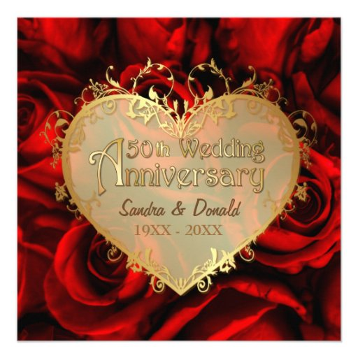 Red Rose 50th Wedding Anniversary -Square ver. 2 Custom Announcements