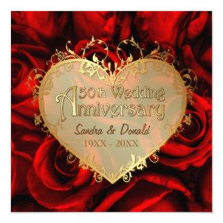 Red Rose 50th Wedding Anniversary -Square ver. 2 13 Cm X 13 Cm Square Invitation Card