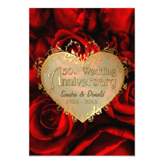Red Rose 50th Wedding Anniversary -ver. 2 13 Cm X 18 Cm Invitation Card