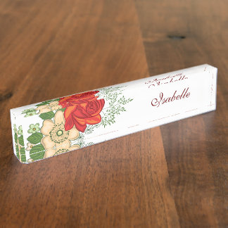 Red Rose and Daisies Personalized Name Nameplate