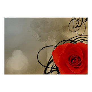 Red Rose Blank Poster