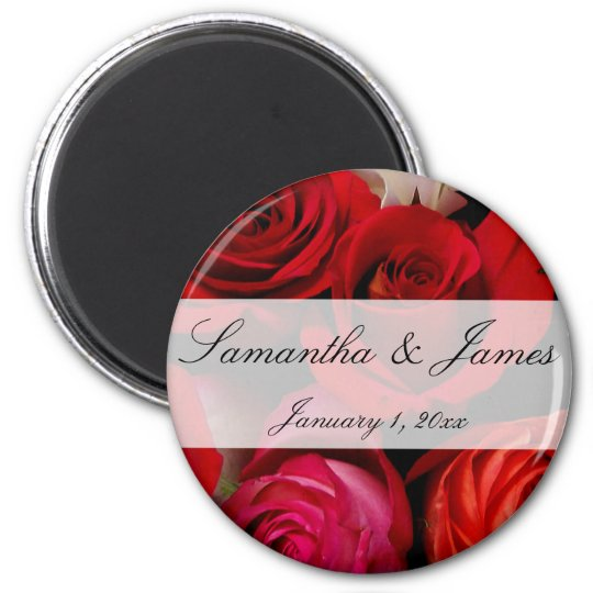 Red Rose Bouquet Personal Wedding Magnet