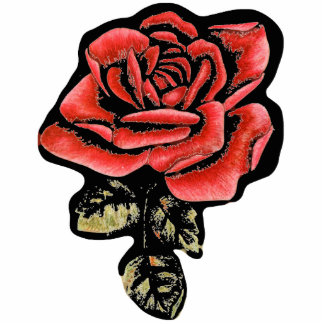 Red Rose Car / Refrigerator Magnet Photo Sculpture Magnet