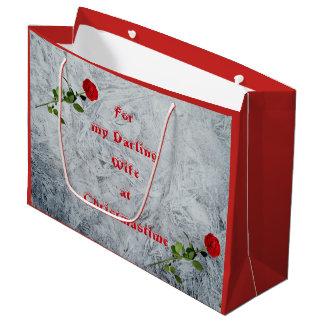 Red Rose Darling Wife at Christmas design Large Gift Bag