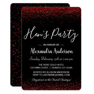 Red Rose Glitter Sparkle Hen's Party Card