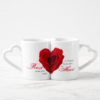 Red Rose Heart Shape - Coffee Mug Set
