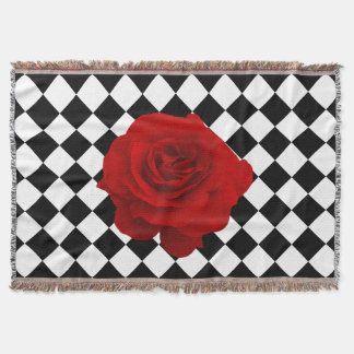 Red Rose on Black and White Diamond Pattern Throw Blanket