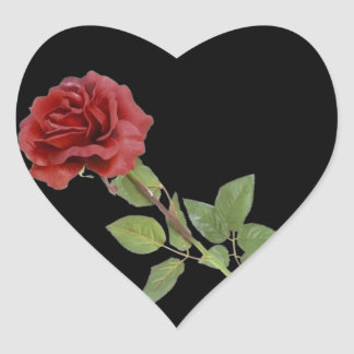 Red Rose on Black Heart Sticker