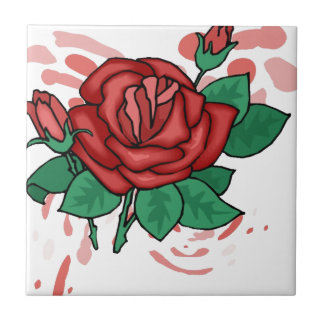 Red Rose On Swirls Small Square Tile
