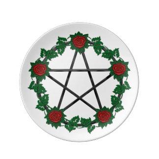 Red Rose Pagan Black Pentagram Pentacle Plate