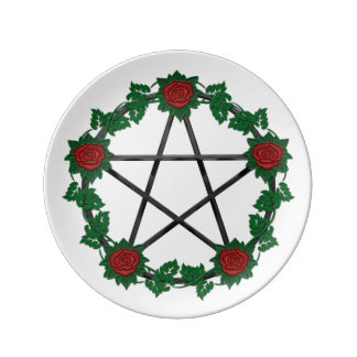 Red Rose Pagan Black Pentagram Pentacle Plate Porcelain Plate