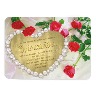 Red Rose Pearl Heart Quinceañera 11 Cm X 16 Cm Invitation Card
