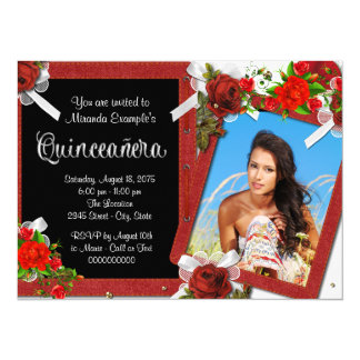 Red Rose Photo Quinceanera 14 Cm X 19 Cm Invitation Card