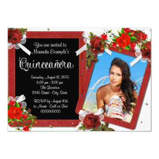 Red Rose Photo Quinceanera 4.5x6.25 Paper Invitation Card