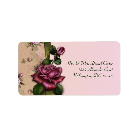 Red Rose Pink Address Labels