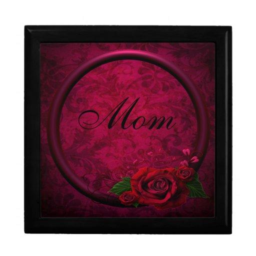 Red Rose & Purple Frame Damask Mom Jewelry Box