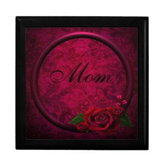 Red Rose & Purple Frame Damask Mum Jewellery Box Large Square Gift Box