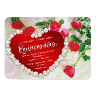 Red Rose Quinceañera 11 Cm X 16 Cm Invitation Card