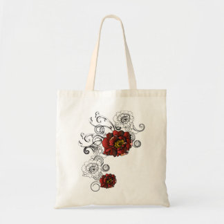 Red Rose Swirls Tote Bags