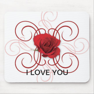red rose w/vain, I LOVE YOU Mouse Pad