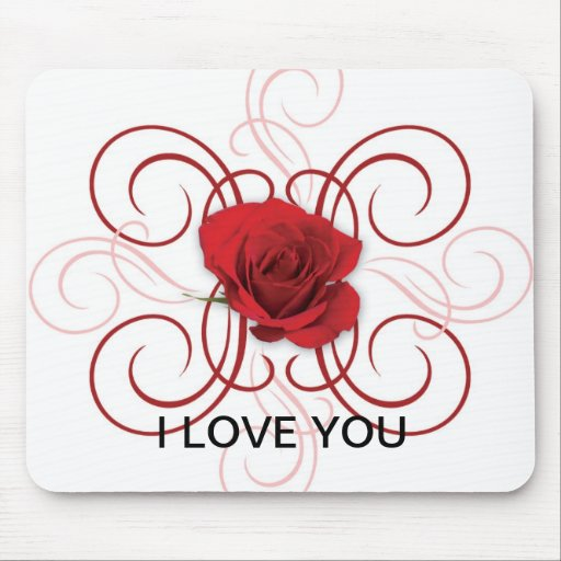 red rose w/vain, I LOVE YOU Mousepads