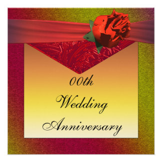 Red Rose Wedding Anniversary Party Invitation