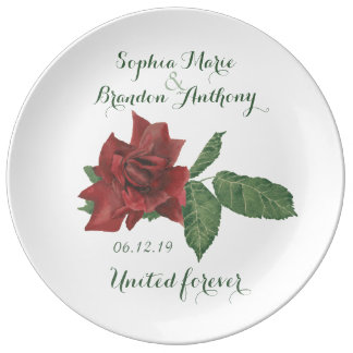 Red Rose Wedding Date Anniversary Porcelain Plate