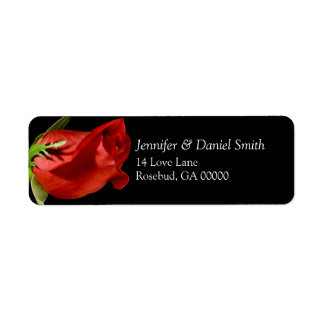 Red Rose Wedding Return Address Labels