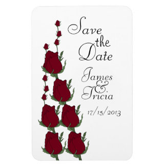 Red Rosebuds Save the Date Wedding magnets