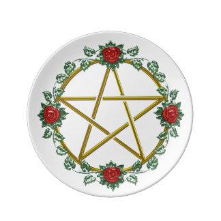 Red Roses Adorn Gold Pentagram Plate