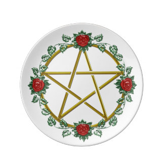 Red Roses Adorn Gold Pentagram Porcelain Plate