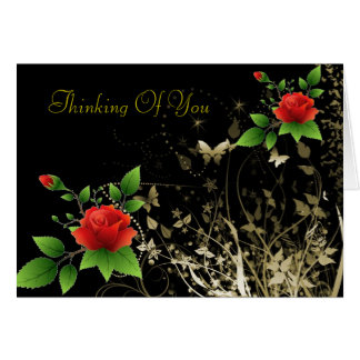 Red Roses an Gold Butterfly Card