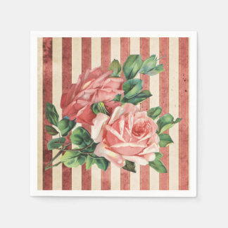 Red Roses and Rustic Red and Beige Stripe Paper Napkin