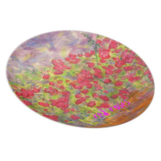 red roses art plate